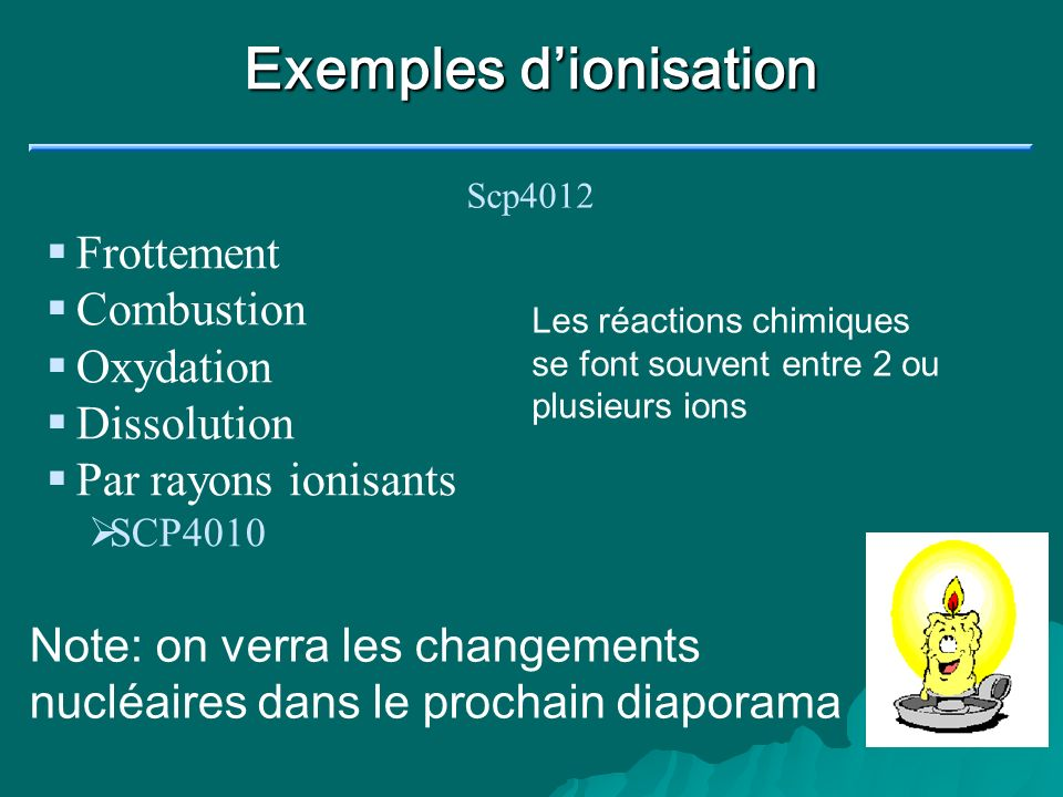 Exemples d'ionisation