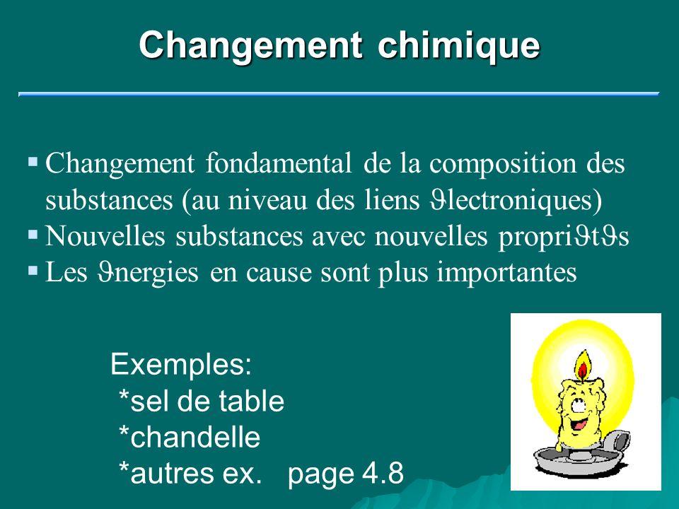 Changement chimique Changement fondamental de la composition des substances (au niveau des liens Jlectroniques)