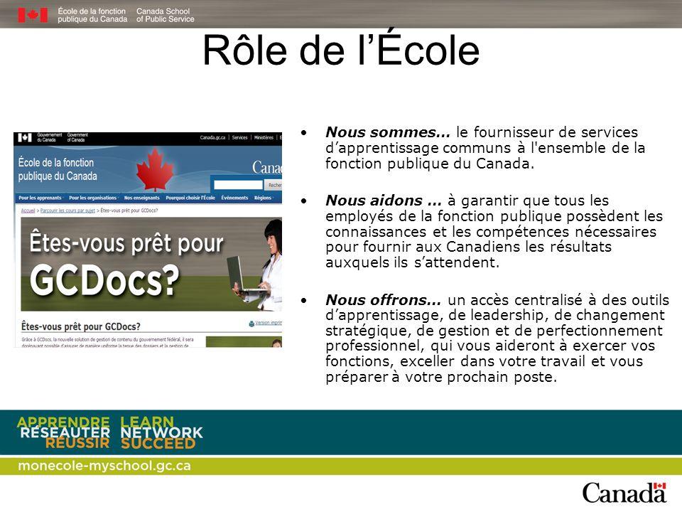 Rôle de l'École Nous sommes… le fournisseur de services d'apprentissage communs à l ensemble de la fonction publique du Canada.