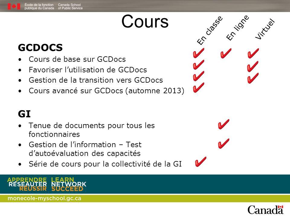 Cours GCDOCS GI Virtuel En classe En ligne Cours de base sur GCDocs