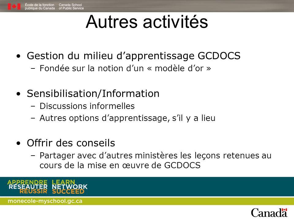 Autres activités Gestion du milieu d'apprentissage GCDOCS