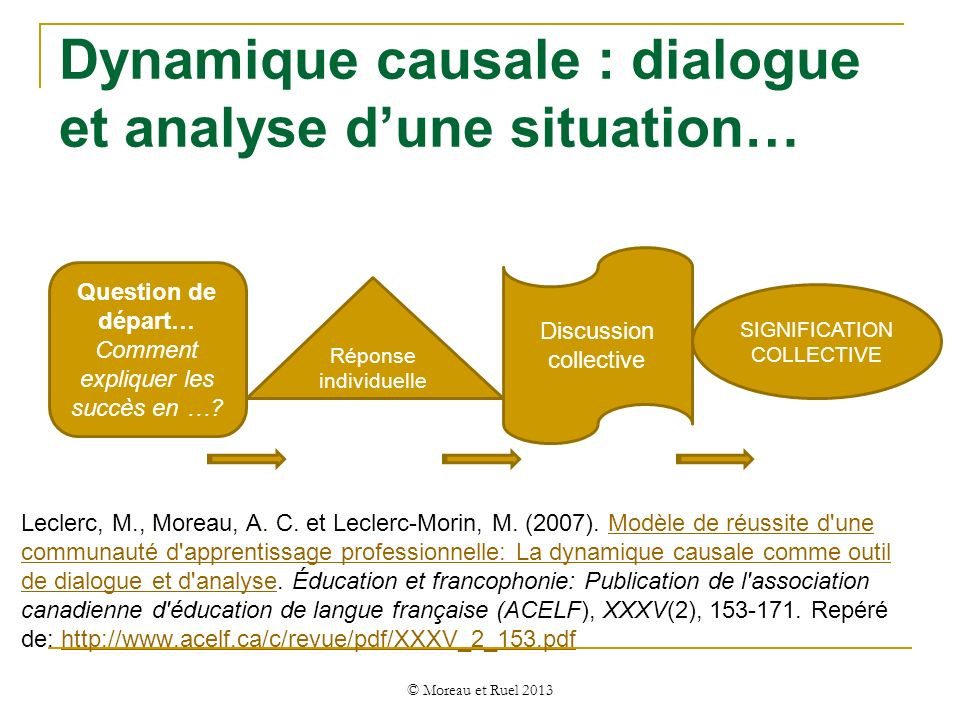 Dynamique causale : dialogue et analyse d'une situation…
