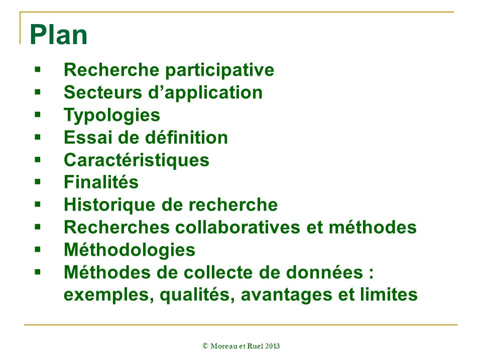 Plan Recherche participative Secteurs d'application Typologies