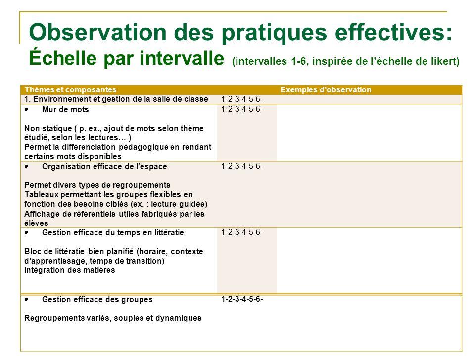 Observation des pratiques effectives: Échelle par intervalle (intervalles 1-6, inspirée de l'échelle de likert)
