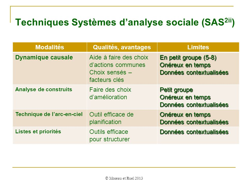 Techniques Systèmes d'analyse sociale (SAS2ii)