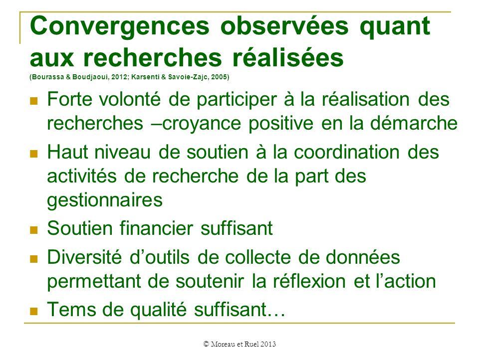 Convergences observées quant aux recherches réalisées (Bourassa & Boudjaoui, 2012; Karsenti & Savoie-Zajc, 2005)