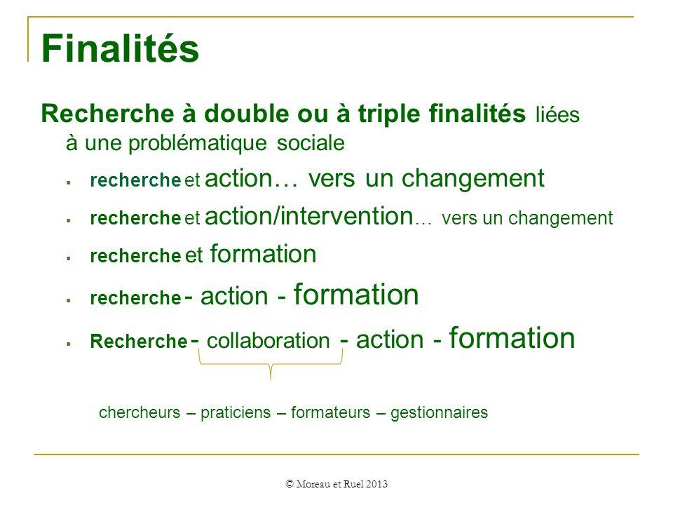 Finalités Recherche à double ou à triple finalités liées à une problématique sociale. recherche et action… vers un changement.