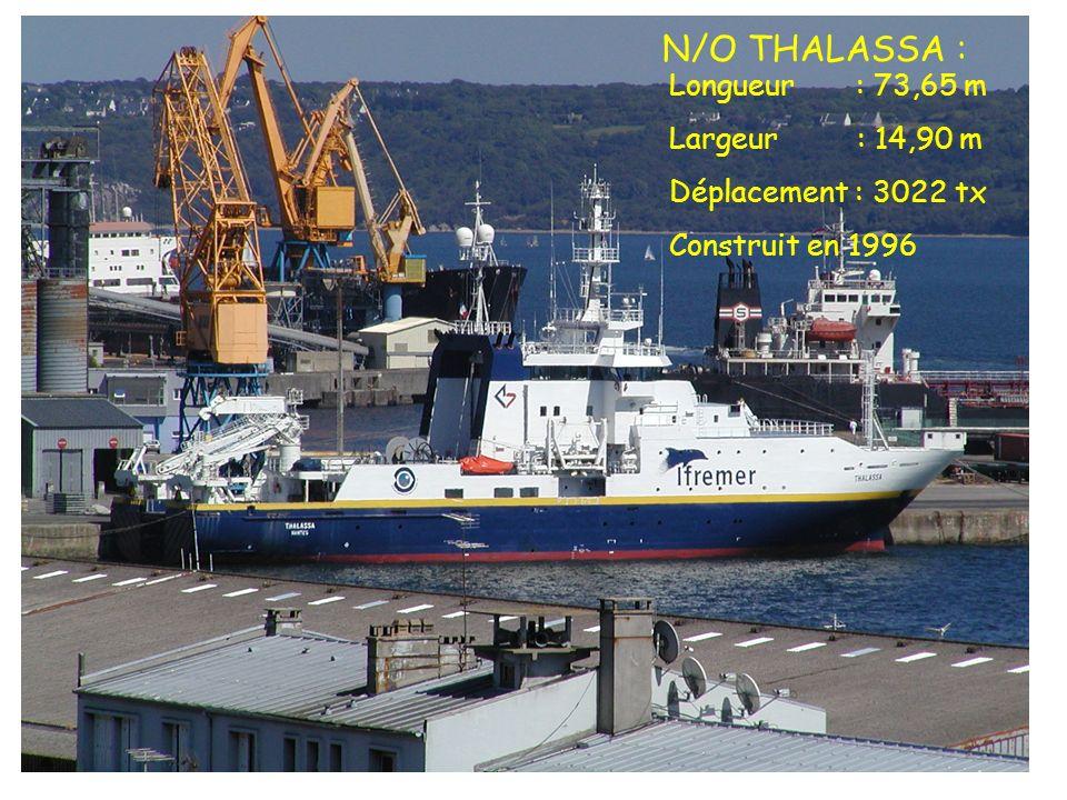 N/O THALASSA : Longueur : 73,65 m Largeur : 14,90 m