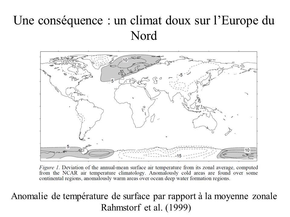 Une conséquence : un climat doux sur l'Europe du Nord