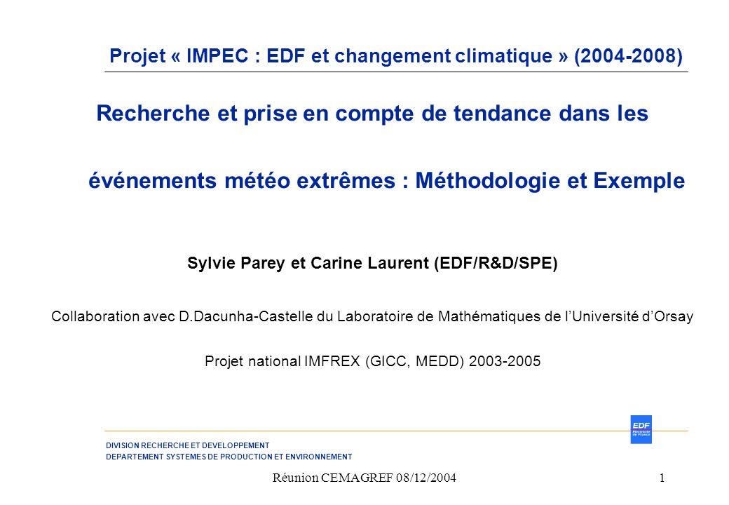 Projet « IMPEC : EDF et changement climatique » (2004-2008)