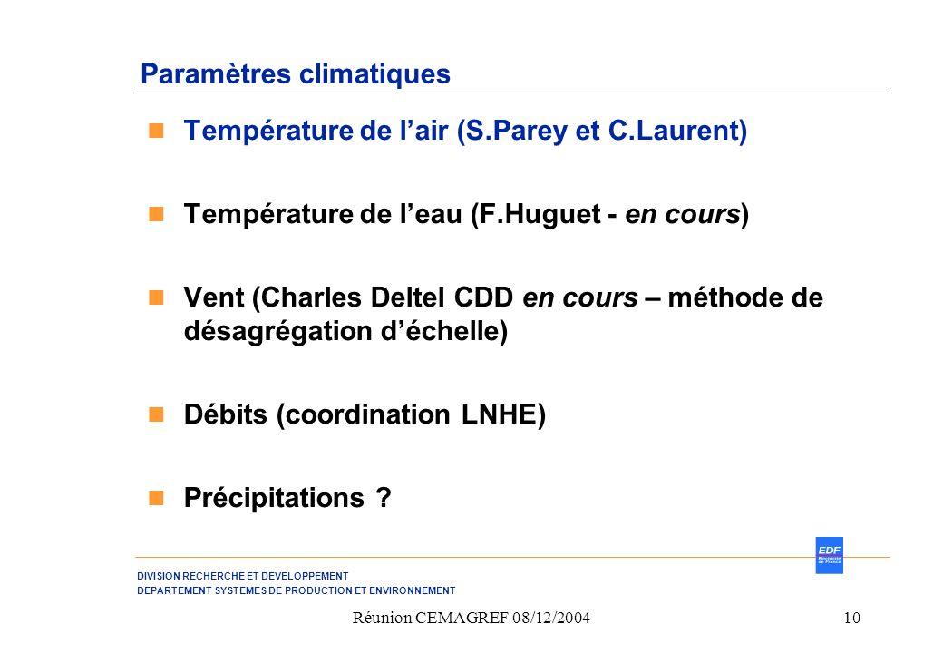 Paramètres climatiques