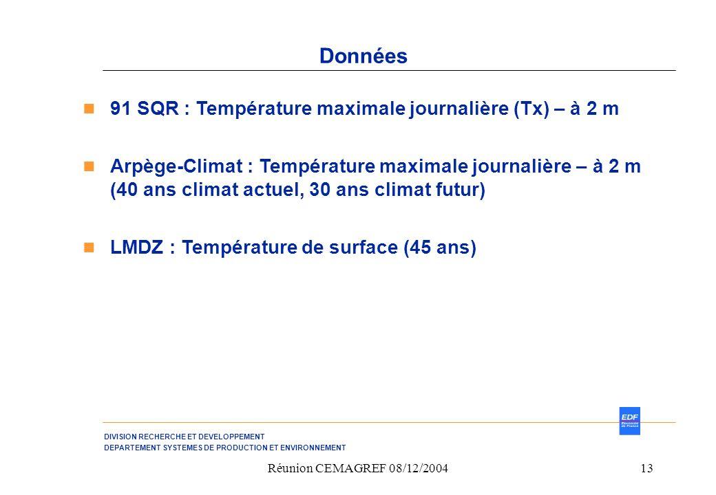 Données 91 SQR : Température maximale journalière (Tx) – à 2 m