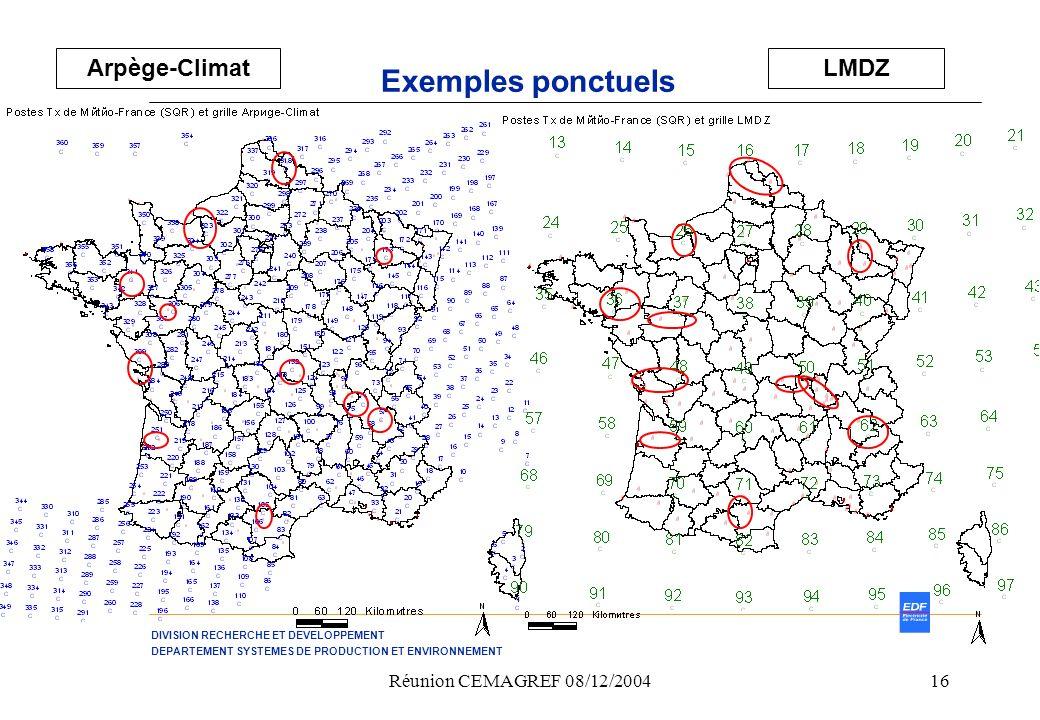 Arpège-Climat LMDZ Exemples ponctuels Réunion CEMAGREF 08/12/2004