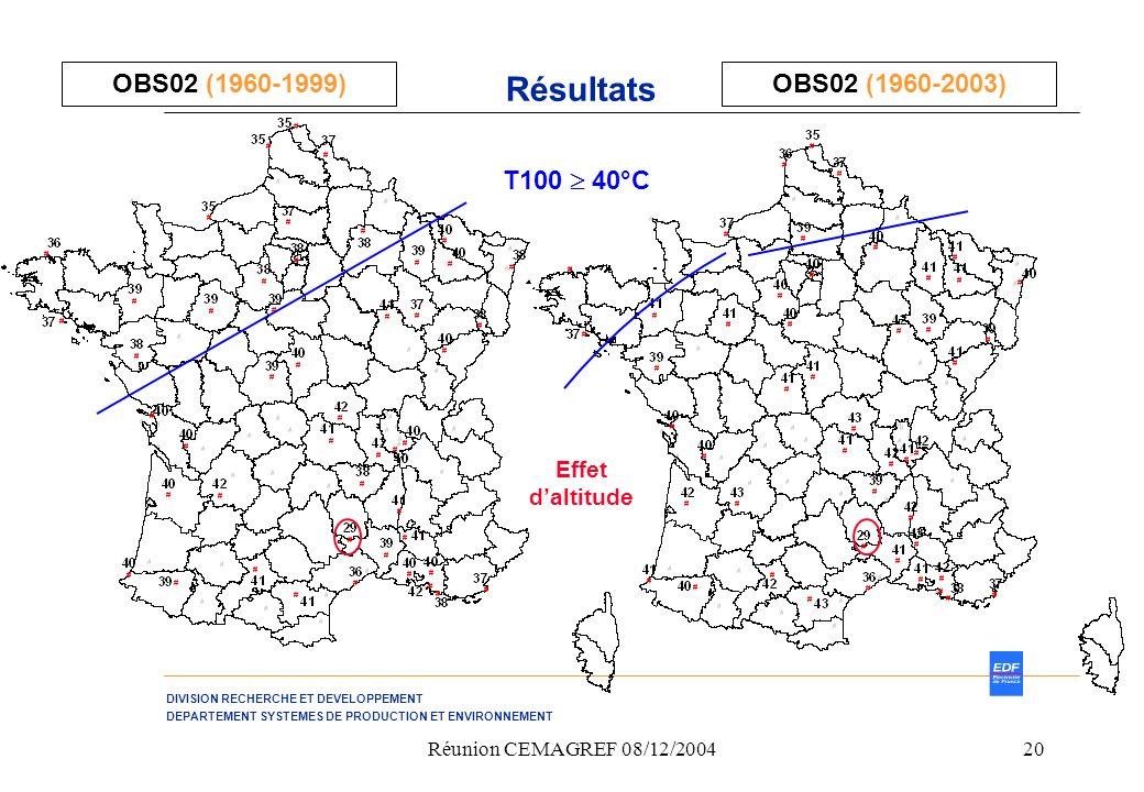 Résultats OBS02 (1960-1999) OBS02 (1960-2003) T100  40°C