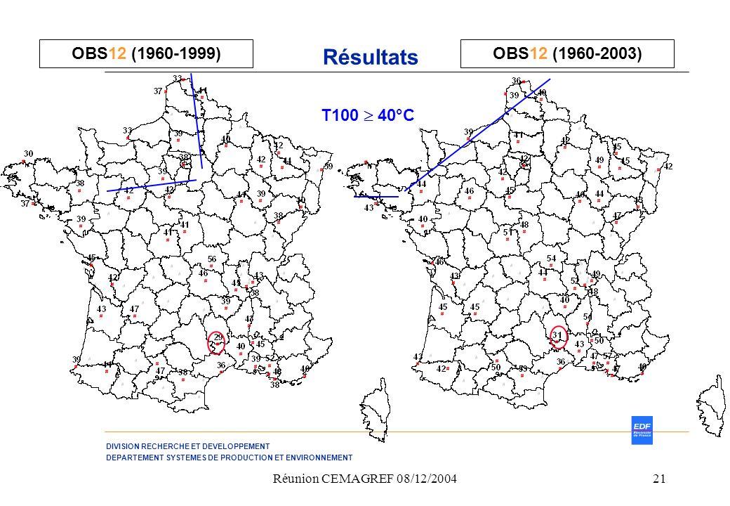 Résultats OBS12 (1960-1999) OBS12 (1960-2003) T100  40°C