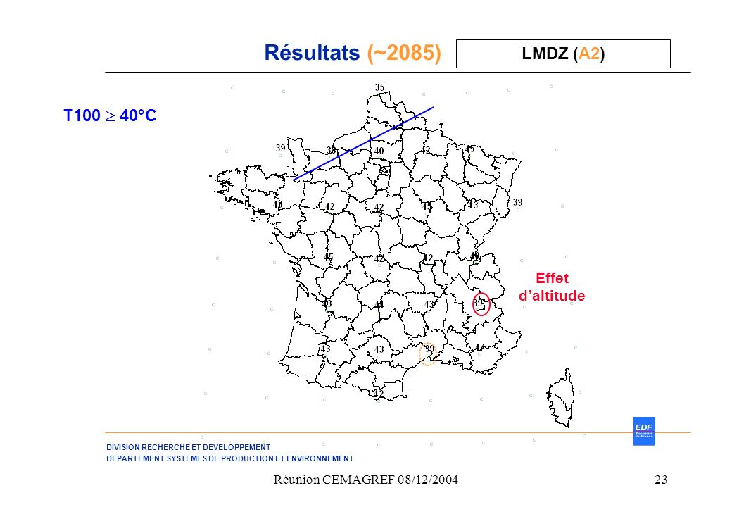 Résultats (~2085) LMDZ (A2) T100  40°C Effet d'altitude