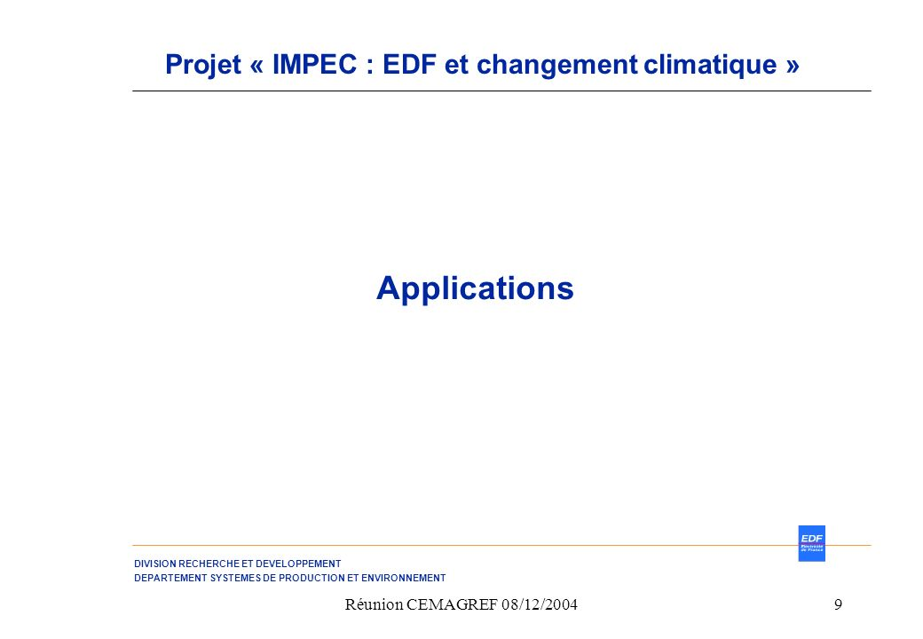 Projet « IMPEC : EDF et changement climatique »