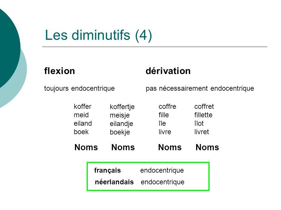 Les diminutifs (4) flexion dérivation Noms Noms Noms Noms