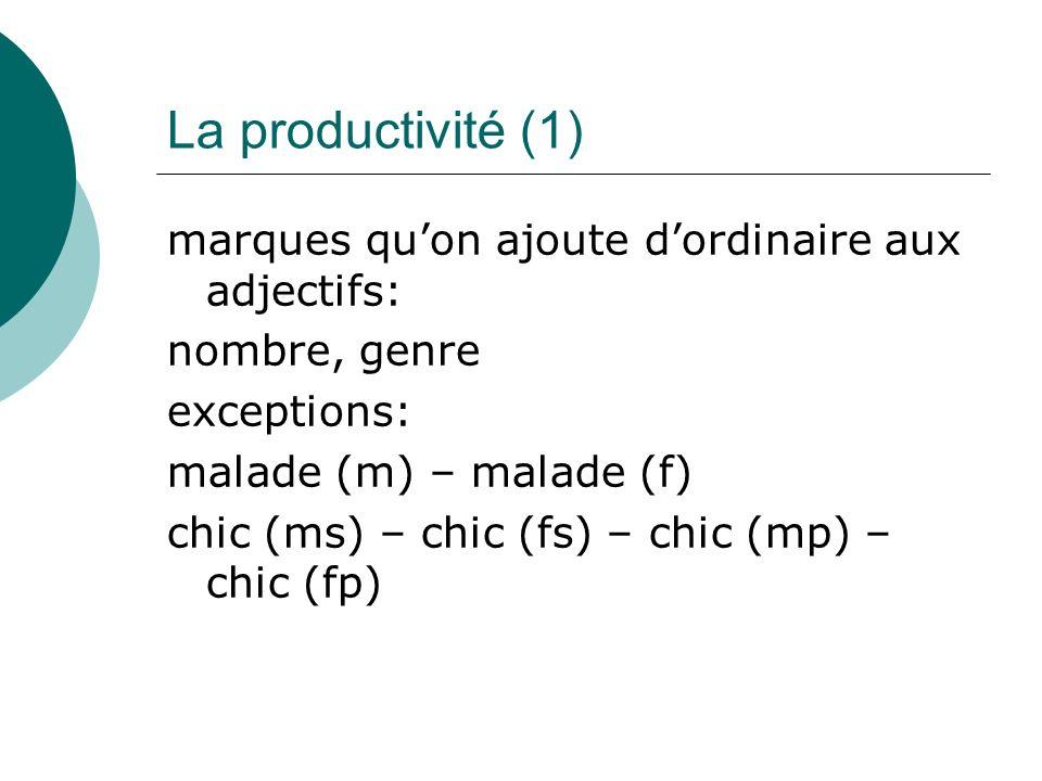 La productivité (1) marques qu'on ajoute d'ordinaire aux adjectifs: