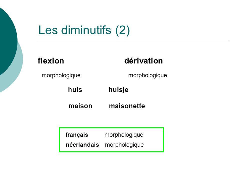 Les diminutifs (2) flexion dérivation huis huisje maison maisonette