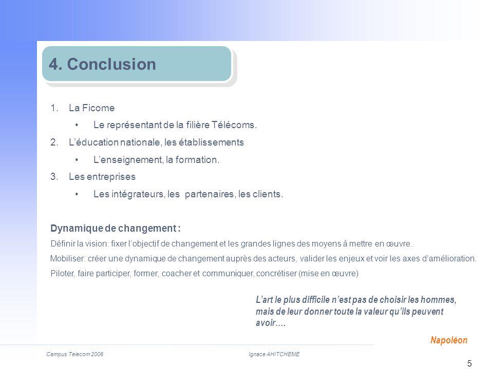 4. Conclusion La Ficome Le représentant de la filière Télécoms.