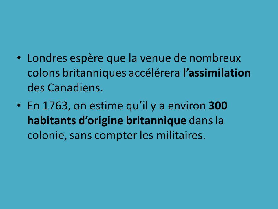 Londres espère que la venue de nombreux colons britanniques accélérera l'assimilation des Canadiens.