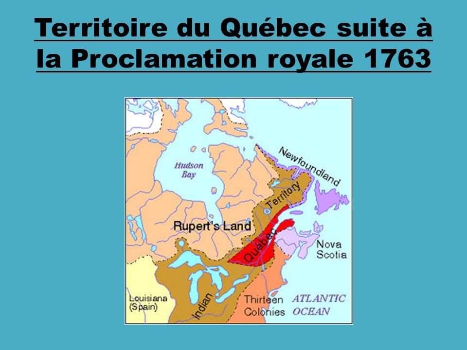 Territoire du Québec suite à la Proclamation royale 1763
