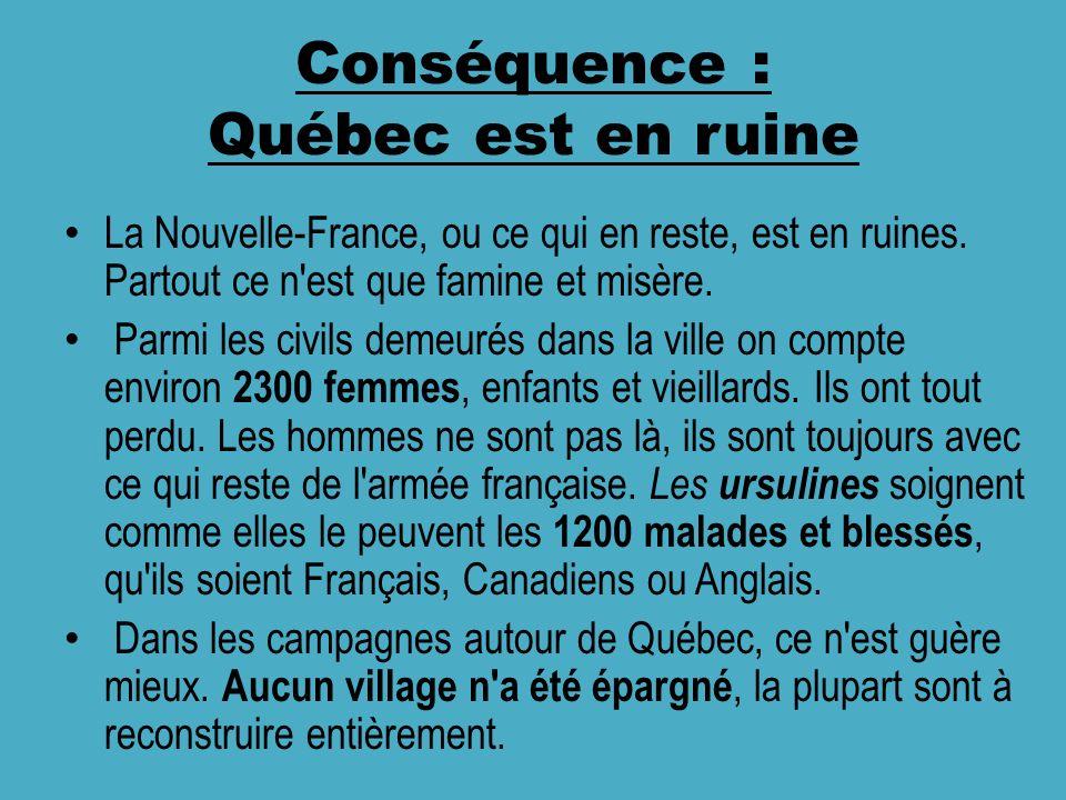 Conséquence : Québec est en ruine