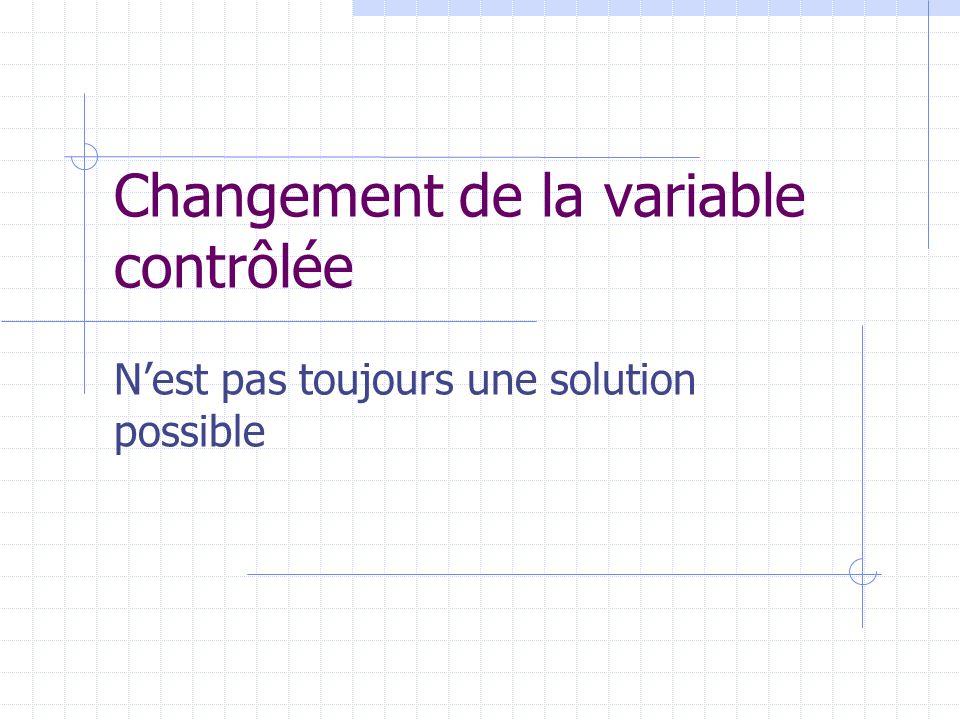 Changement de la variable contrôlée