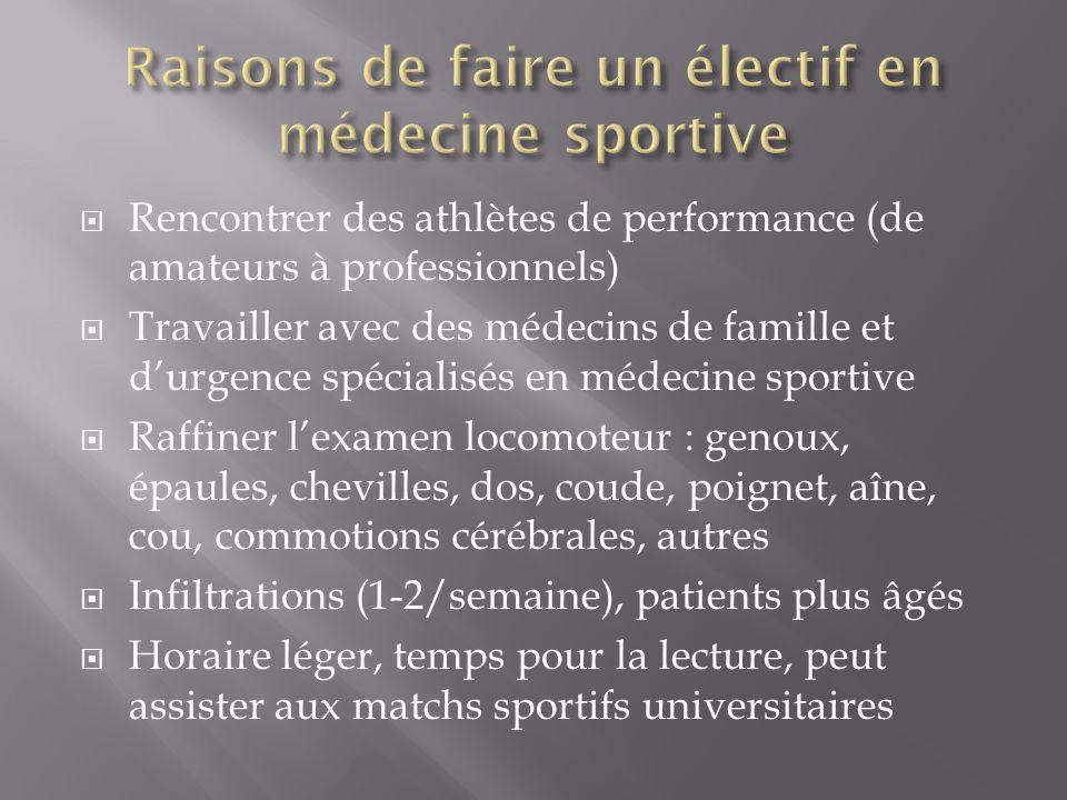 Raisons de faire un électif en médecine sportive