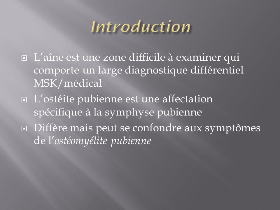 Introduction L'aîne est une zone difficile à examiner qui comporte un large diagnostique différentiel MSK/médical.