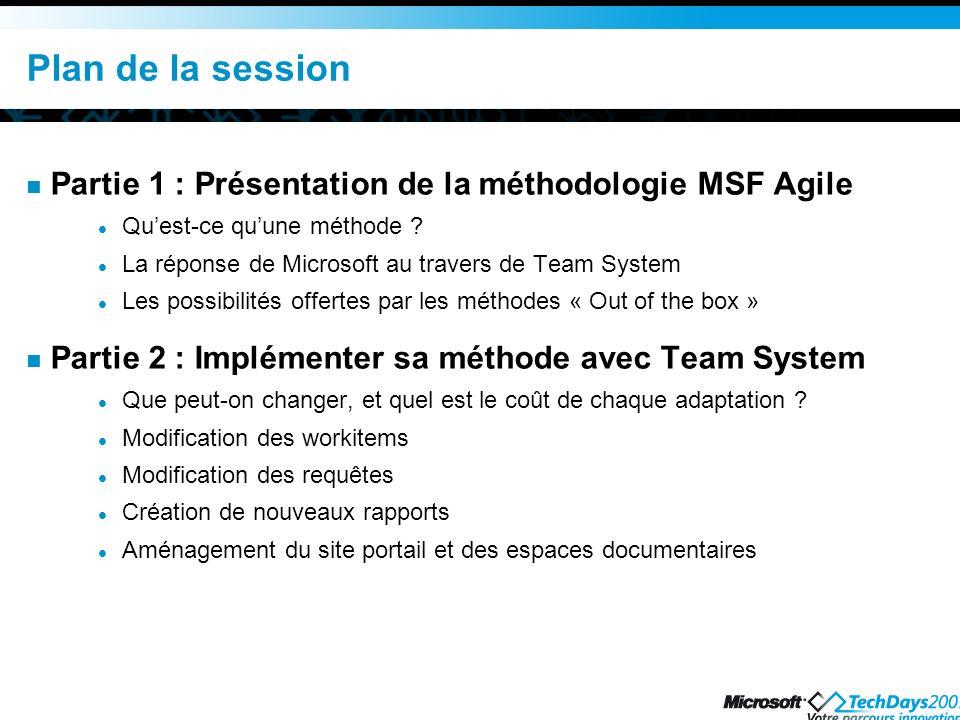 Plan de la session Partie 1 : Présentation de la méthodologie MSF Agile. Qu'est-ce qu'une méthode