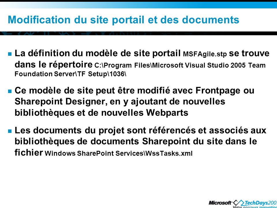 Modification du site portail et des documents