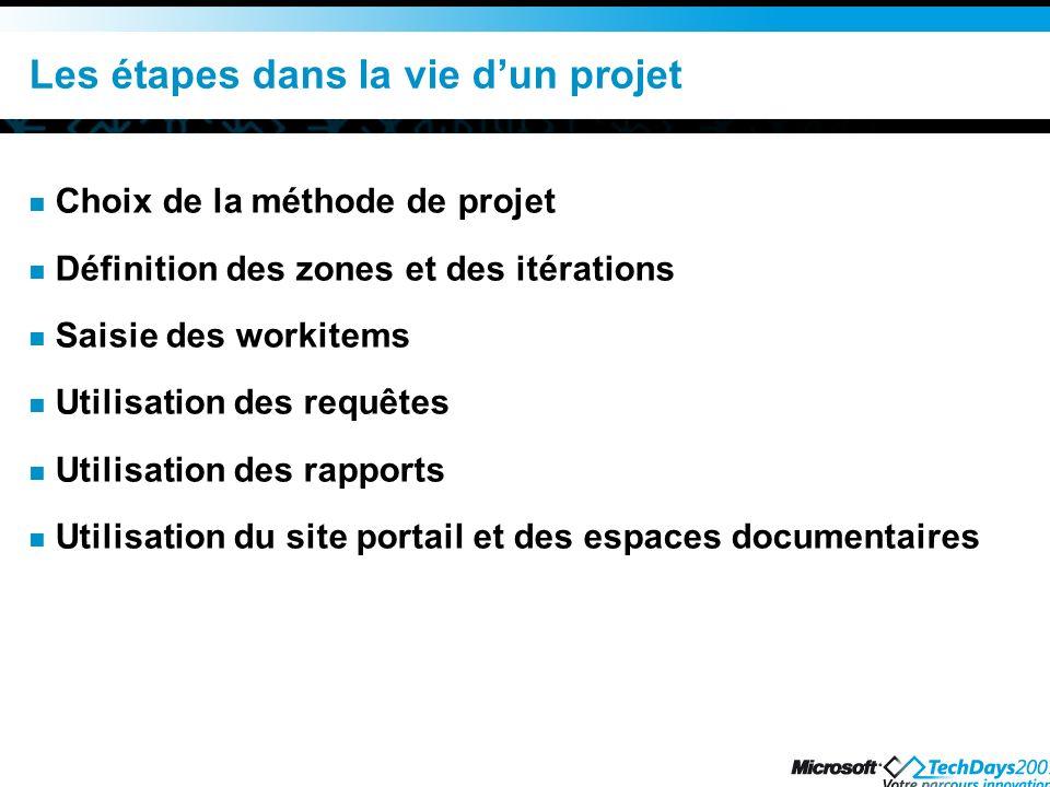 Les étapes dans la vie d'un projet