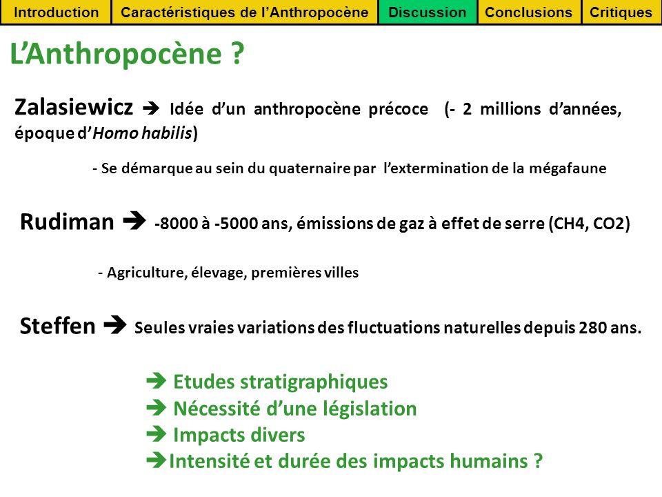 Caractéristiques de l'Anthropocène
