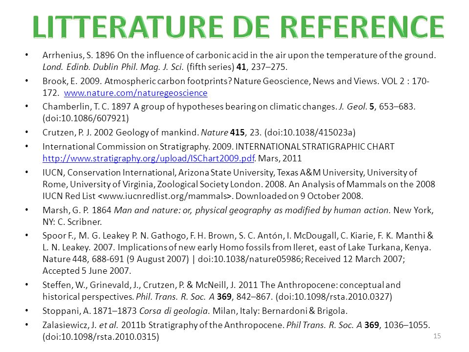 LITTERATURE DE REFERENCE