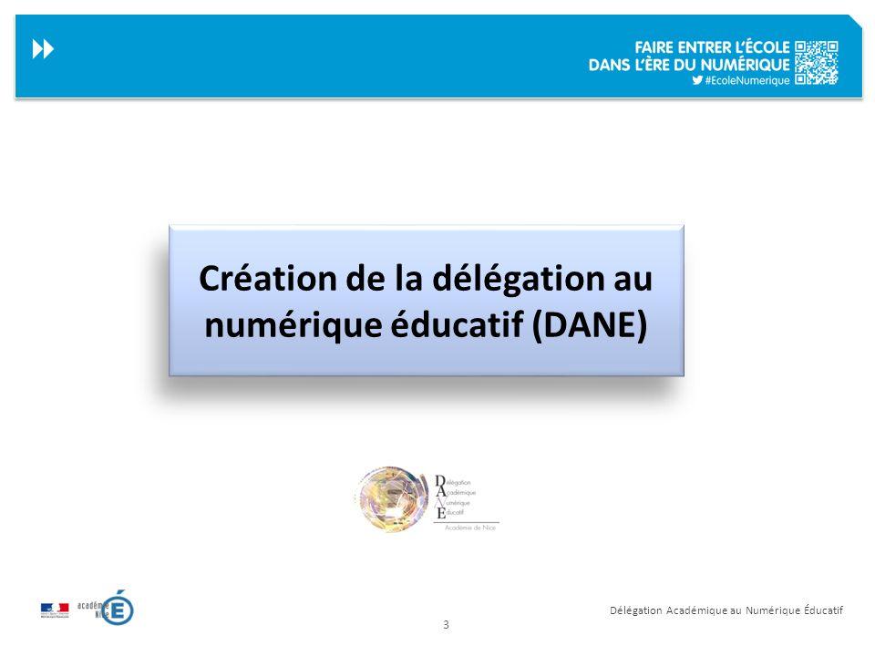 Création de la délégation au numérique éducatif (DANE)