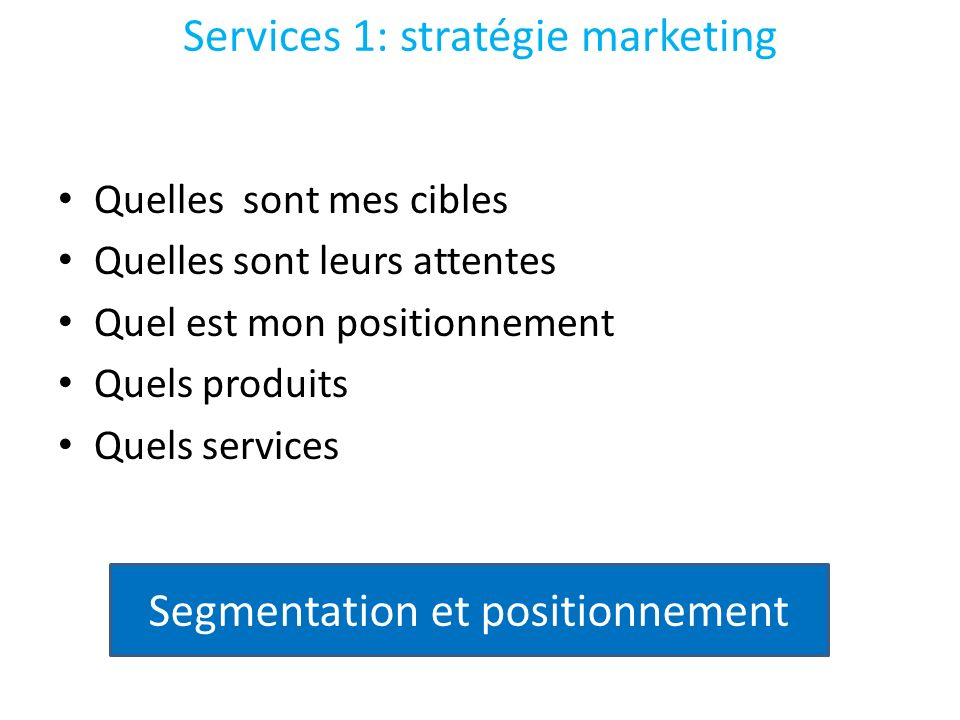 Services 1: stratégie marketing