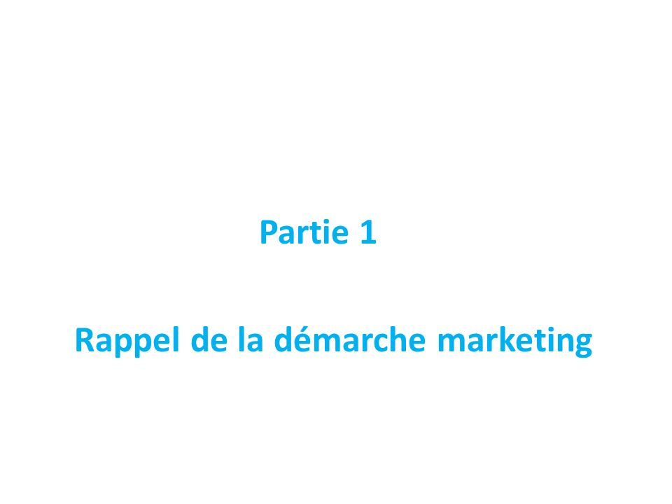 Partie 1 Rappel de la démarche marketing