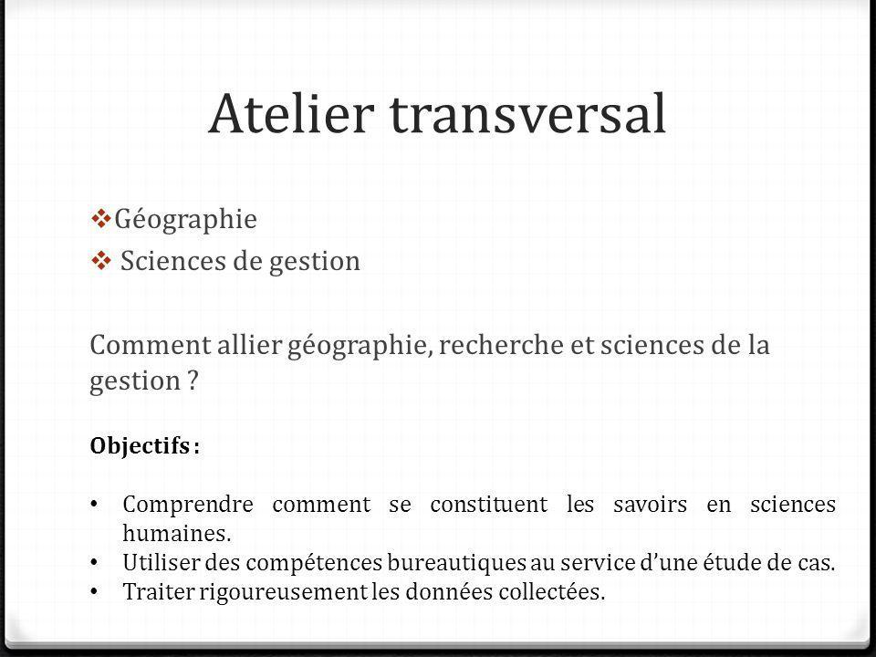 Atelier transversal Géographie Sciences de gestion