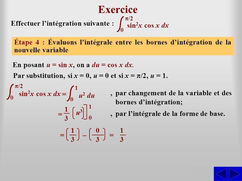 Exercice S S S S Effectuer l'intégration suivante : sin2x cos x dx