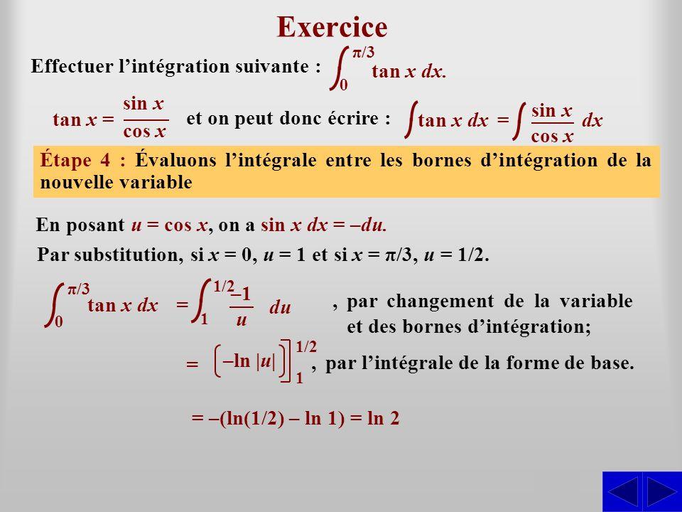 Exercice S S S S Effectuer l'intégration suivante : tan x dx. tan x =