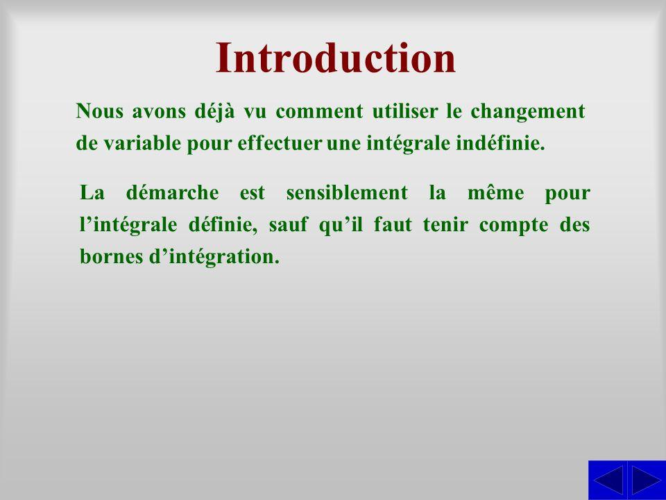 Introduction Nous avons déjà vu comment utiliser le changement de variable pour effectuer une intégrale indéfinie.