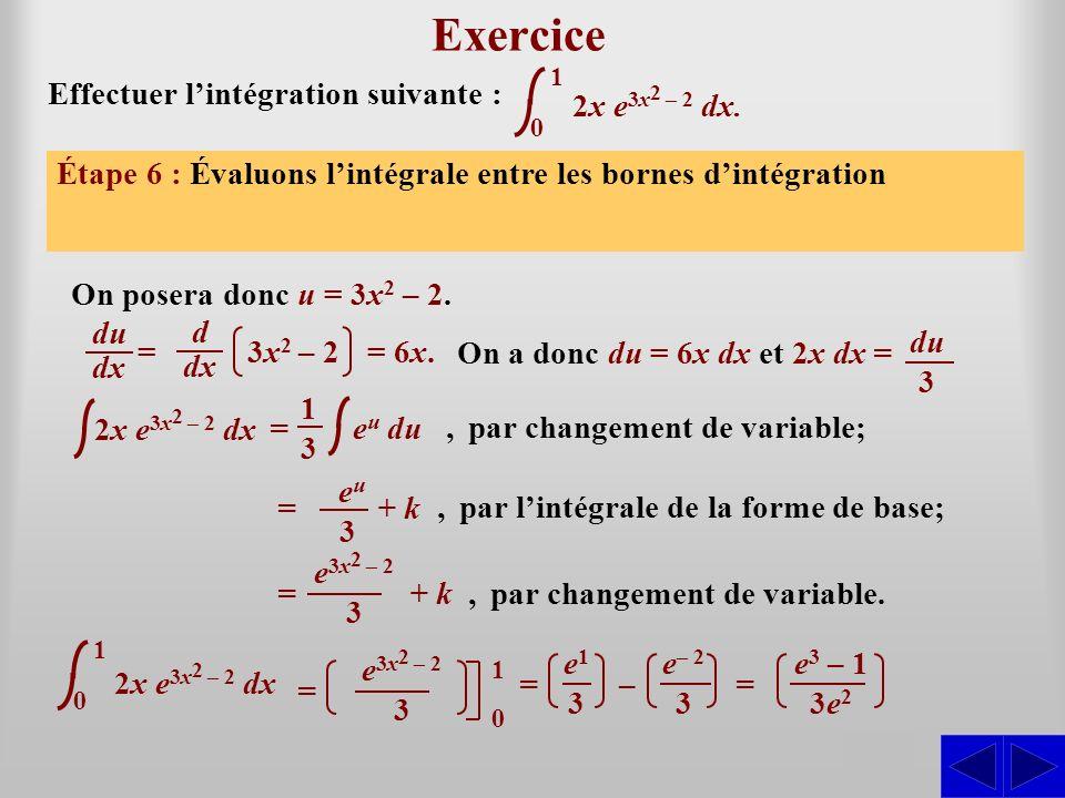 Exercice S S S S S S Effectuer l'intégration suivante :