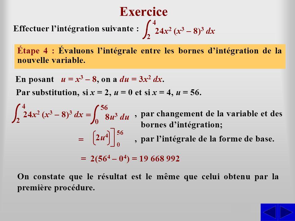 Exercice S S S S Effectuer l'intégration suivante : 24x2 (x3 – 8)3 dx