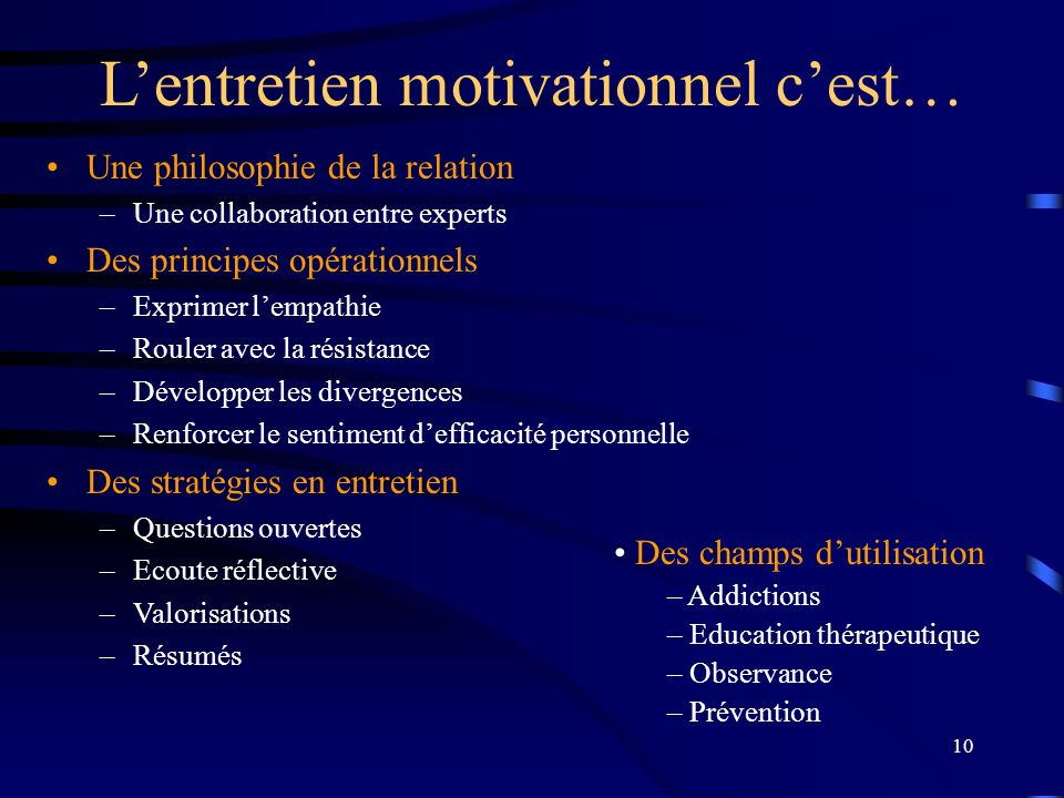 L'entretien motivationnel c'est…