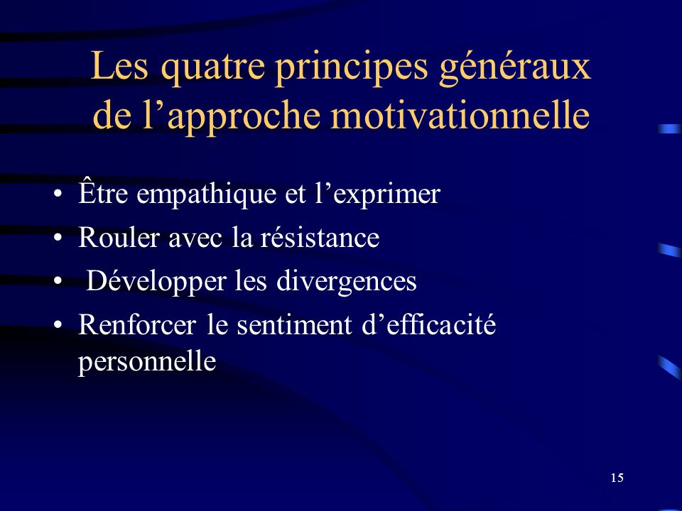 Les quatre principes généraux de l'approche motivationnelle