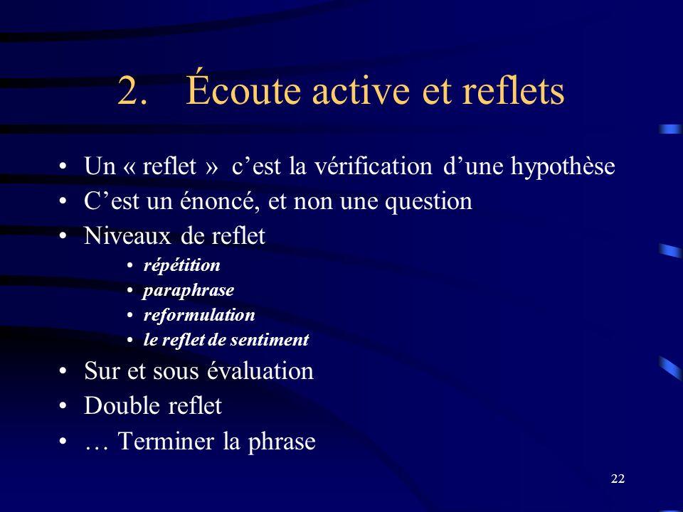 2. Écoute active et reflets