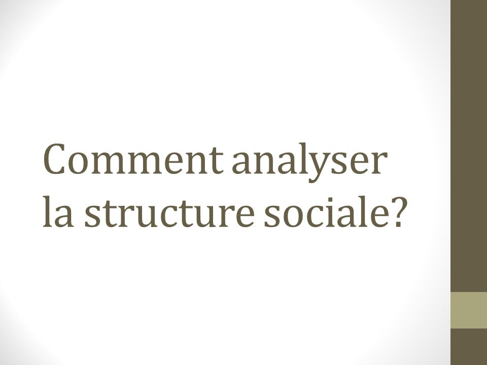 Comment analyser la structure sociale