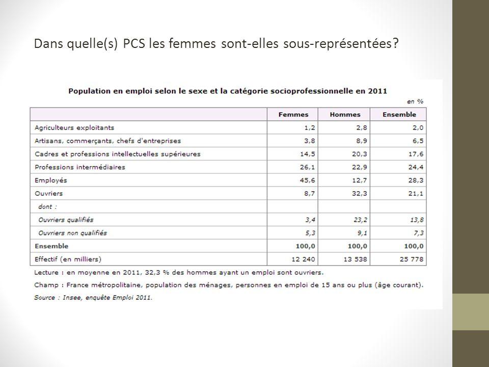Dans quelle(s) PCS les femmes sont-elles sous-représentées